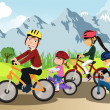 Family biking — Stock Vector