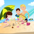 Beach family vacation - Stock Vector