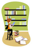 Student in library — Stock Vector