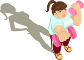Overweight girl exercising — Stock Vector