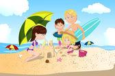 Strandsemester med familjen — Stockvektor
