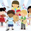 Music band of four little kids — Stock Vector