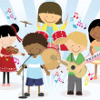 Music band of four little kids - Stock Vector
