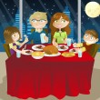 Family eating dinner — Image vectorielle