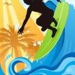 Royalty-Free Stock Imagem Vetorial: Surfer in the ocean