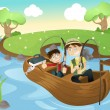Father and son going fishing - Stock Vector