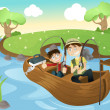 Stock Vector: Father and son going fishing