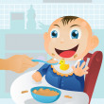 Feeding baby time — Stock Vector