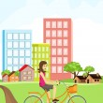 Woman riding a bike — Stock Vector