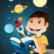 Boy reading astronomy book — Stock Vector