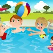 Family in swimming pool — Stock Vector