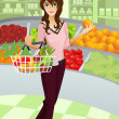 Woman shopping grocery — Stock Vector