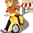 Royalty-Free Stock Vector Image: Pizza delivery man