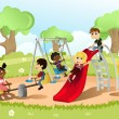 Children in playground - Imagen vectorial