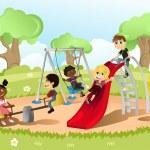 Children in playground — Stock Vector
