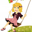 Girl on a swing — Stock Vector