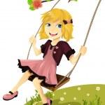 Girl on a swing — Stock Vector