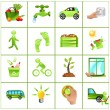 Stock Vector: Go green concept icons