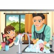 Father and son washing dishes — Stock Vector