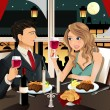 Stock Vector: Couple in restaurant