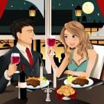 Couple in restaurant — Stock Vector