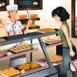 Buying cake at bakery store — Stock Vector