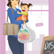 Stock Vector: Mother and daughter shopping