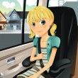 Stock Vector: Girl in car seat