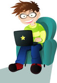 A boy with a laptop — Stock Vector