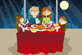 Family eating dinner — Stock Vector