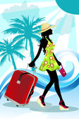 Summer traveling woman — Stock Vector