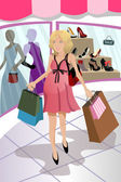 Shopping pregnant woman — Vector de stock