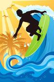 Surfer in the ocean — Stock Vector