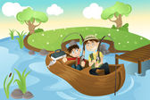 Father and son going fishing — Stock Vector