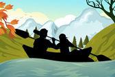 Kayaking — Stock Vector