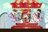 Children in amusement park — Stock Vector
