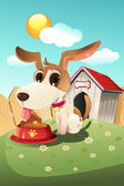 Dog in doghouse — Stock Vector