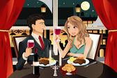 Couple in restaurant — Stock Vector