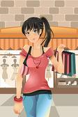 шоппинг женщина — Cтоковый вектор