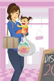 Mother and daughter shopping — Stock Vector