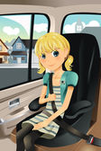 Girl in car seat — Stock Vector
