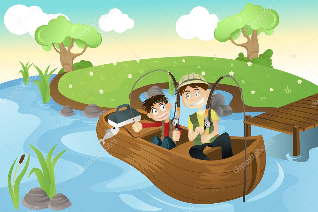 Father and son going fishing stock vector artisticco for Do kids need a fishing license