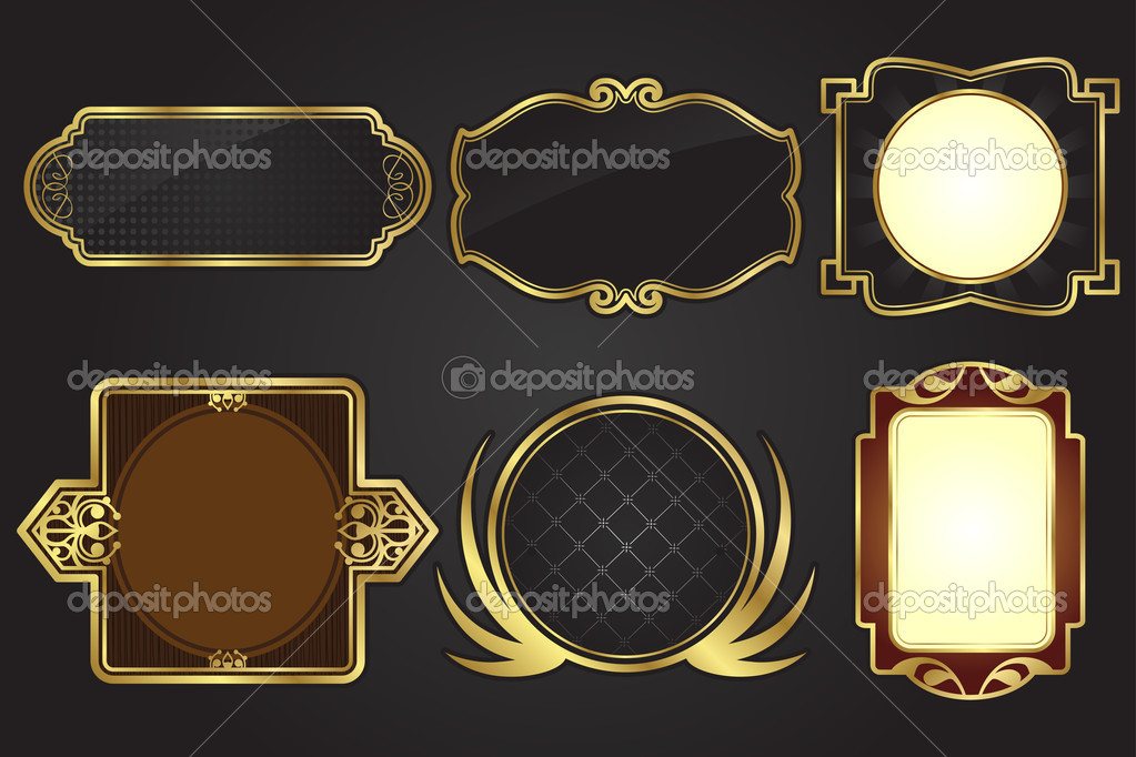 A vector illustration of a set of black and gold frames — Stock Vector #8178525