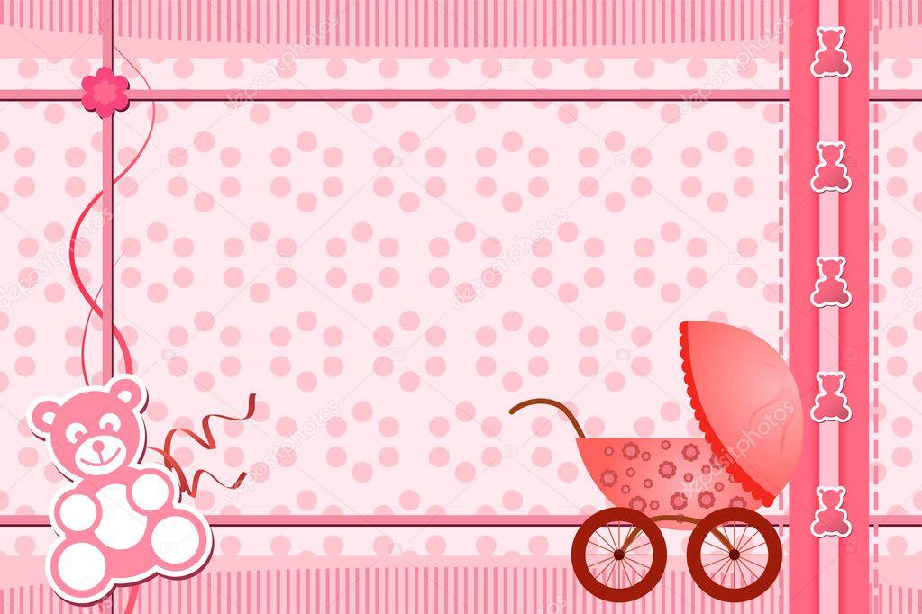 Baby shower pink background