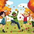 Autumn Fall season kids - Stock Vector