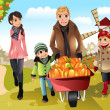 Stockvektor : Family doing pumpkin patch