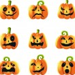 Pumpkins expressions — Stock Vector