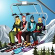 Skiers on the ski lift - Stock Vector