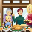 Thanksgiving family dinner — Stock Vector