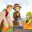Family doing pumpkin patch — Stock Vector